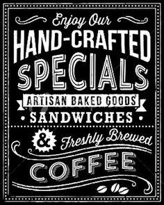 Chalkboard art menu ToniKami ⊱CհαƖҜ ℒЇℕ℮⊰ Fresh brewed coffee