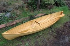 The 37 steam-bent frames give a traditionally planked hull the look and appeal of the double-paddle canoes of the century. Glued-plywood lapstrake construction has the advantage of a more easily maintained interior. Canoe Plans, Boat Plans, Wood Canoe, Boat Building Plans, Wood Boats, Fishing Knots, Small Boats, Outdoor Furniture, Outdoor Decor