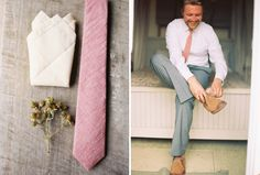 california-elopement-pink-tie-pocket-square-boutonniere-groom