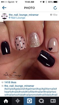 Nails gel, we adopt or not? - My Nails Black Gel Nails, Cute Acrylic Nails, Cute Nails, Uv Gel Nails, Nail Nail, Stiletto Nails, Heart Nail Art, Heart Nails, Stylish Nails