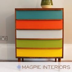 Upcycled furniture - love the bright colours