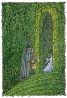 "enchantingimagery: "" An illustration for the ballet of Sleeping Beauty by Angela Barrett. My scan. Fairytale Fantasies, Fairytale Art, Forest Illustration, Children's Book Illustration, Fairy Tale Forest, Fairy Tales, Briar Rose, Claude Monet, Sleeping Beauty Art"