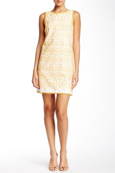 Embroidered Crochet Trim Shift Dress by Max Studio on @nordstrom_rack