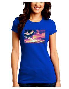 TooLoud Blue Mesa Reservoir Surreal Juniors Petite Crew Dark T-Shirt