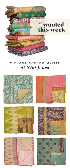 Kantha Quilts...a new obsession. This patterns and colors. Oh man.