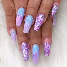 40 Fabulous Nail Designs That Are Totally in Season Right Now – clear nail art designs,almond nail art design, acrylic nail art, nail designs with glitter – nageldesign. Cute Acrylic Nail Designs, Best Acrylic Nails, Glitter Nail Designs, Purple Nail Designs, Summer Nail Designs, Unique Nail Designs, Almond Nails Designs Summer, Bright Acrylic Nails, Acrylic Nail Designs Coffin