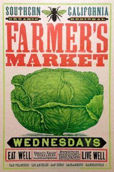 Farmer's Market - Southern California - CABBAGE - kraft paper print