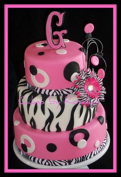 hot pink and zebra striped cake.. idea for Haileys bday but I want a tiara on top