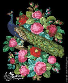 Купить или заказать Схема вышивки 'Павлин и розы' в интернет-магазине на Ярмарке Мастеров. Авторская реконструкция старинной схемы для вышивания крестом 1800-1900 годов по старинному, раскрашенному вручную бумажному шаблону. Издательство L W Wittich. К схеме прилагается ключ в цветовой палитре ниток DMC, а также возможные размеры готовой вышивки на 14, 16, 18 и 25 канве. Схема в электронном виде, в формате PDF. Можно заказать цветной или черно-белый вариант схемы по вашему жел…
