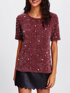 Shop Pearl Embellished Ribbed Knit Tee online. SheIn offers Pearl Embellished Ribbed Knit Tee & more to fit your fashionable needs.