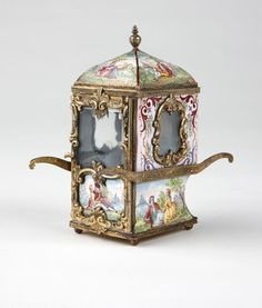 A Viennese enameled silver miniature sedan chair, Second half 19th century