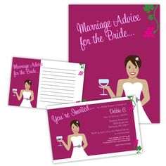 Bridal shower invites and advice book for a wine themed wedding, with custom character of the bride.  Done by www.jensenido.com #invites #bridalshower