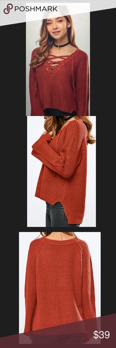 V NECK BELL SLEEVES LACE UP RUST SWEATER V Neck Bell Sleeve Lace Up Rust Sweater. It does have any underlying tone of green in it. This Sweater is Asymmetrical in the back. It is a One Size Fits All. Please ask me any questions Please no offers on my Boutique items. God Bless You 💝💝💝 Sweaters V-Necks