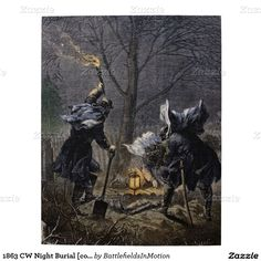 1863 CW Night Burial [color] Jigsaw Puzzle - A hand-tinted engraving published in Frank Leslie's Illustrated Newspaper, depicting the burial at night of an officer from General Rosencrans's staff after the Second Battle of Mufreesboro, Tenn., on January 2, 1863. #civilwar