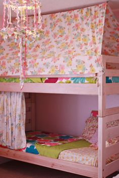 HOME SWEET HOME... Girls Bedroom.  Bunkbed with Tent on Top.  Cozy Fort Made From Vintage Sheets.  Papercraft Chandelier from Lampshade Frame.  Vintage Boho.