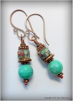 Moss opal gemstone rounds + colorful Czech glass = perfect! By Two Trees Studio, $29.00.