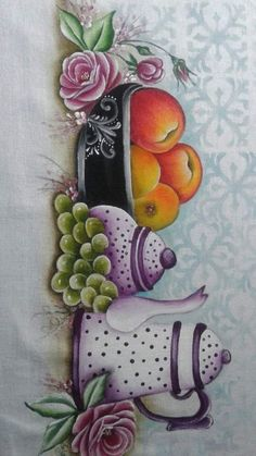 Image, Fabric Crafts, Dish Towels, Realistic Oil Painting, Christmas Cushions, Fruit Painting, Irises, Toddler Girl Dresses, Calla Lilies
