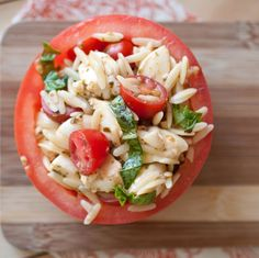 Perfect for lunchtime or as an afternoon snack, these tomato cups are filled with an orzo caprese-style salad.