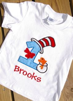 Dr+Suess+Cat+in+the+Hat++Birthday+Shirt+by+GetStitchedByAnna,+$22.00