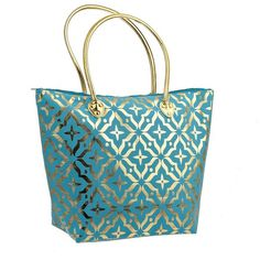 Turquoise Metallic Gold Tote Bag (940 PHP) ❤ liked on Polyvore featuring bags, handbags, tote bags, tote purses, blue handbags, zip tote bag, turquoise handbags and blue purse