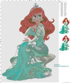 Princesse Ariel grille point de croix - 2840x3300 - 4435382