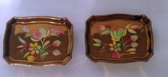 Wade England Copper Luster Lustre Floral Design Tid Bit or Side Dishes (2) Total