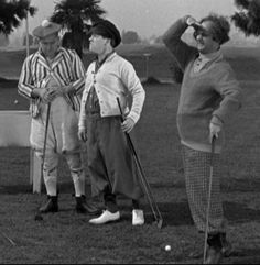The Three Stooges, dressed in golfing attire, posing with golf clubs on a golf course. Left to right: Curly Howard , Moe Howard and Larry Fine . Get premium, high resolution news photos at Getty Images The Three Stooges, The Stooges, Classic Golf, Classic Tv, Classic Films, Golf With Friends, Tv Retro, Denis Villeneuve, Classic Comedies