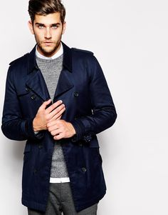 Image 1 of ASOS Trench Coat With Belt In Navy