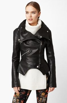 Alexander McQueen Oversized Collar Leather Jacket available at #Nordstrom