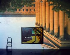 Abelardo Morell, Camera Obscura Image of The Philadelphia Museum of Art East Entrance in Gallery with a de Chirico Painting, 2006 Camera Obscura, Scenic Photography, Street Photography, Modern Photography, Expo Chicago, Pinhole Camera, Philadelphia Museum Of Art, Sombre, Double Exposure