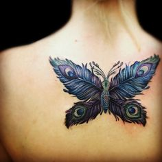 Peacock Feather Butterfly | Butterfly With Peacock Wings Tattoo Feather butterfly by cara