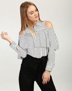 5af2ba5984c3c8 Tops - Online Girls Tops & Women Tops Shopping In India At Stalkbuylove.  Striped Rita Ruffled Cold Shoulder Blouse_Tops