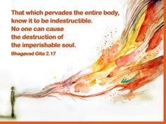 That which pervades the entire body , know it to be the indestructible. No one can cause the destruction of imperishable soul.  Bhagavad gita 2.17