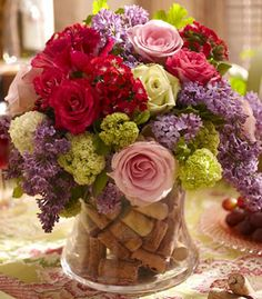 Wine corks in flower arrangement