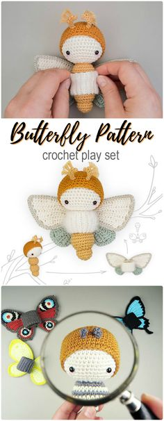 Sweet butterfly or moth or caterpillar pattern with interchangeable wings. Beautiful play set to crochet for a great gift! Love this sweet pattern! #crochet #amigurumi #pattern #etsy #affiliatelink