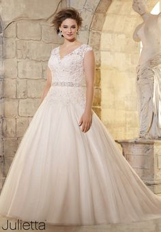 Plus Size Wedding Dress 3181 Embroidered Lace Appliques on Soft Net with Crystal Beading