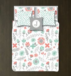 Floral Bedding Set-Duvet Cover-Shams-Grayed by GatheredNestDesigns