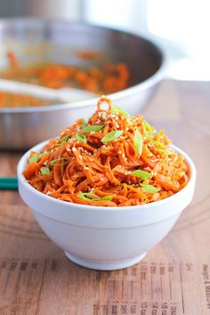 Spicy Peanut Carrot Noodles with sprialized carrots and powered peanut butter