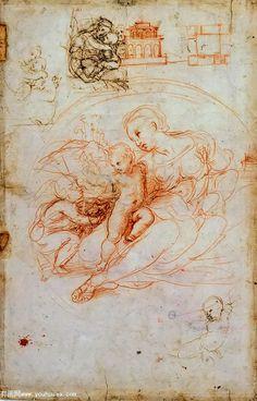 阿尔巴圣母,习作 - studies for the alba madonna and other sketches