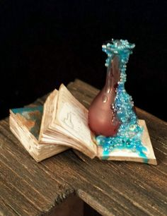 OOAK 1:12 Scale Dollhouse Miniature Spilled Potion Book Set Witch Wizard