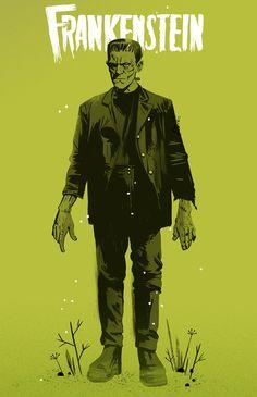 Frankenstein Poster by Chris King Victor Frankenstein, Bride Of Frankenstein, Frankenstein Tattoo, Mary Shelley, Beetlejuice, Dracula, Inktober, Arte Nerd, Horror Monsters