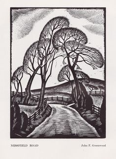 Nessfield Road - woodcut by John F Greenwood, c1934   by mikeyashworth