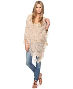 Fringed Diamond Poncho