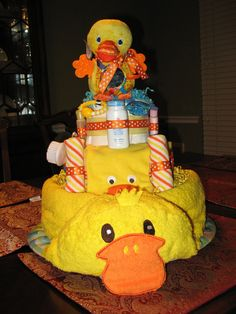 Duck Diaper Cake by LilybugCakesnDesigns on Etsy, $90.00