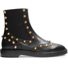 Balenciaga Studded brogue chelsea boots (67.845 RUB) ❤ liked on Polyvore featuring shoes, boots, black chelsea boots, black brogue boots, beatle boots, leather boots and black studded boots
