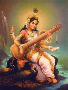 In Hinduism, Saraswati is the goddess of knowledge, music, arts and science. She is part of a Hindu trinity and also revered by the Jains. The Jains are a branch of Hinduism. Saraswati Mata, Saraswati Goddess, Indian Goddess, Goddess Art, Arte Krishna, Art Magique, Religion, Divine Mother, Sacred Feminine
