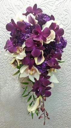 This bouquet with more white.add white oriental lilies and omit blush orchids. Purple stock as bouquet backdrop is pretty. Purple Orchid Bouquet, Purple Orchid Wedding, Orchid Bouquet Wedding, Cascading Wedding Bouquets, Purple Orchids, Bridal Flowers, Dark Purple Wedding, Bridesmaid Bouquets, White Orchids