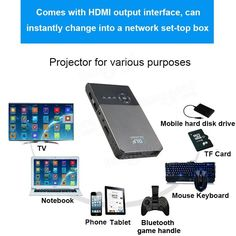 C2 Smart Mini Projector 1G/16G Android 4.4 LED DLP 1000LMS Home Theater Projector