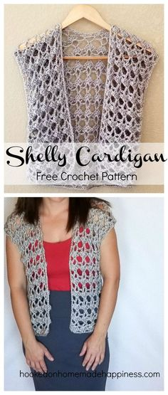 I named this cardigan the Shelly Cardigan because of the pretty shell pattern. It has a feminine, lacy look. And with an easy two row repeat, it works up rather quickly! I will say that after all was said and done, I'm not a fan of my yarn choice. I like the silver sheen, but it was splitty and hard to work with. Now after wearing it a couple times, it's become rather fuzzy. If I make one again, I'll most likely choose a cotton yarn instead. This cardigan can be dressed up or down… either…