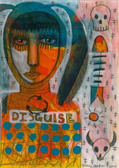 Disguise mixed media art | contemporary primitive | intuitive art | Limited edition print